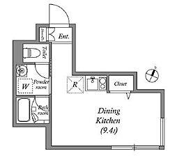 東急東横線 中目黒駅 徒歩6分の賃貸マンション 1階ワンルームの間取り