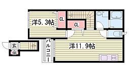 JR加古川線 社町駅 3.1kmの賃貸アパート 2階1LDKの間取り