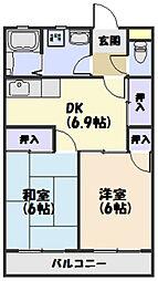 JR紀勢本線 相可駅 徒歩5分の賃貸アパート 2階2DKの間取り