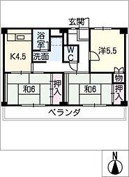 ビレッジハウス三好 1号棟[4階]の間取り