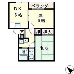 シャトレ岡田C棟[1階]の間取り