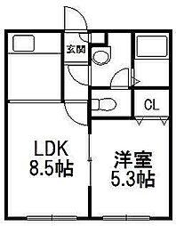 北海道札幌市白石区菊水七条2の賃貸アパートの間取り