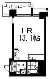 南大通4マンション 9階ワンルームの間取り