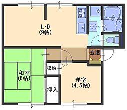 サンビレッジエクセルA[1階]の間取り