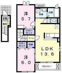 埼玉県志木市中宗岡3丁目の賃貸アパートの間取り