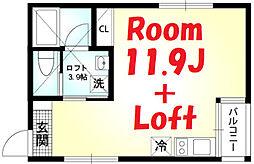 相鉄本線 二俣川駅 徒歩8分の賃貸アパート 2階ワンルームの間取り