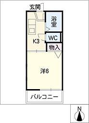 サニーヒル鶴里[1階]の間取り
