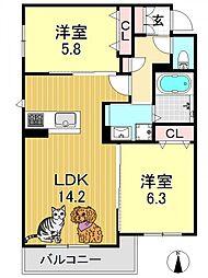 シャーメゾンMAKI[2階]の間取り