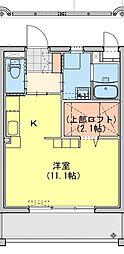 (仮称)都城牟田町マンション南棟 3階ワンルームの間取り