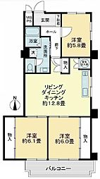 ライオンズマンション東本町第2[12階]の間取り