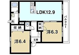 近鉄天理線 二階堂駅 徒歩2分の賃貸マンション 2階2LDKの間取り