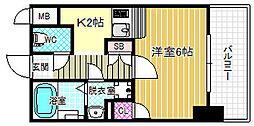 レジデンス福島 5階ワンルームの間取り