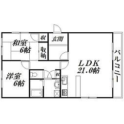 静岡県浜松市中区和地山3丁目の賃貸マンションの間取り