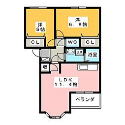 ヴィータローザ[1階]の間取り
