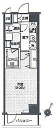 レクシード辰巳 3階1Kの間取り
