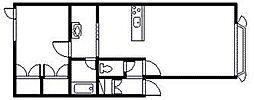 ローズガーデンA・B 1階1LDKの間取り