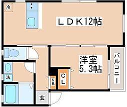 KARIN舞子公園 2階1LDKの間取り