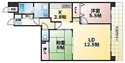 ウエストコート8番街1番館 2階2LDKの間取り