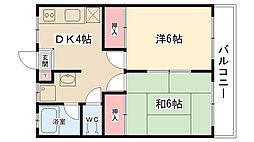 コスモピアフジ[202号室]の間取り