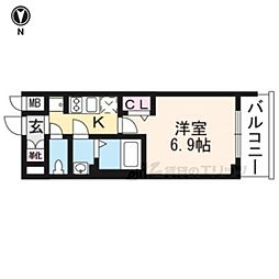 プレサンス京都二条京華 203 2階1Kの間取り