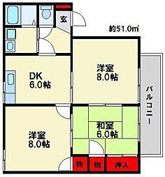 福岡県春日市弥生5丁目の賃貸アパートの間取り