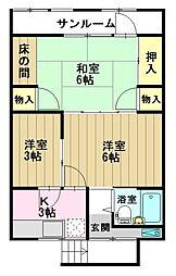 石戸谷アパート[02号室]の間取り