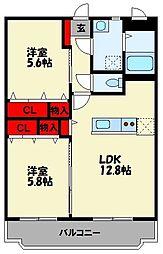 JR筑豊本線 天道駅 徒歩13分の賃貸マンション 2階2LDKの間取り