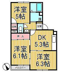 横浜上郷ハイツ[305号室]の間取り