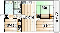 エクセレンス三萩野[5階]の間取り