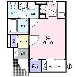 西武新宿線 下井草駅 徒歩4分の賃貸アパート 1階ワンルームの間取り