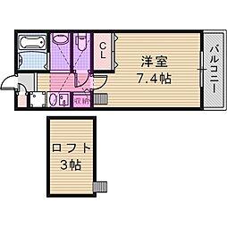 ユーアイハイツ池田I 2階1Kの間取り