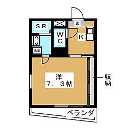 仮 富士見ハイム 2階1Kの間取り
