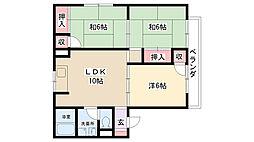 兵庫県伊丹市平松3丁目の賃貸アパートの間取り