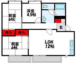 福岡県宗像市須恵1丁目の賃貸アパートの間取り