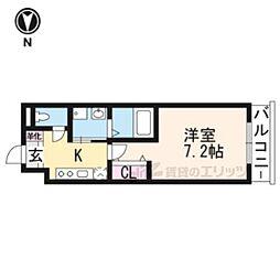 京阪宇治線 木幡駅 徒歩3分の賃貸マンション 3階1Kの間取り