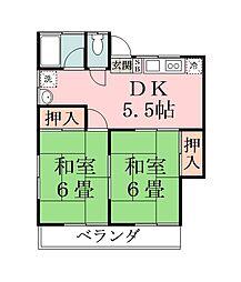 第二真壁コ−ポ[202号室]の間取り
