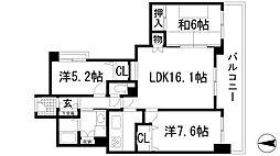 メロディーハイム仁川ガーデンズ[3階]の間取り