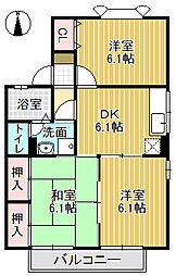 メゾン栄町Ⅱ[101号室]の間取り