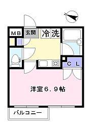 REM桜木町 1階1Kの間取り