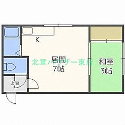 北海道札幌市東区北三十二条東7丁目の賃貸マンションの間取り
