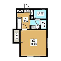 宮城県仙台市若林区荒井3丁目の賃貸アパートの間取り