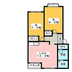 エルシャトーII D[2階]の間取り