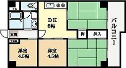 クレセント宇治[5階]の間取り