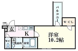 阪神本線 西宮駅 徒歩6分の賃貸アパート 2階1Kの間取り