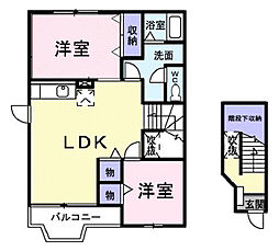 広島県福山市御幸町大字下岩成の賃貸アパートの間取り