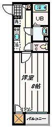 JR埼京線 北与野駅 徒歩16分の賃貸アパート 2階1Kの間取り