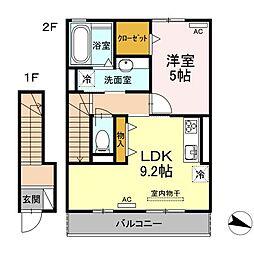 JR山陽本線 下関駅 徒歩24分の賃貸アパート 2階1LDKの間取り