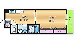 大阪府大阪市東住吉区北田辺1丁目の賃貸マンションの間取り