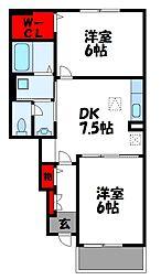 グランペレ・ヤマガタ[1階]の間取り