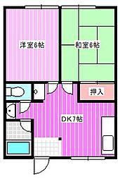 笹田ハイツ[2階]の間取り